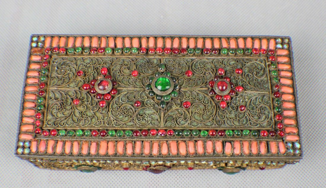 A Copper-box Decorated with Coral and Turquoise