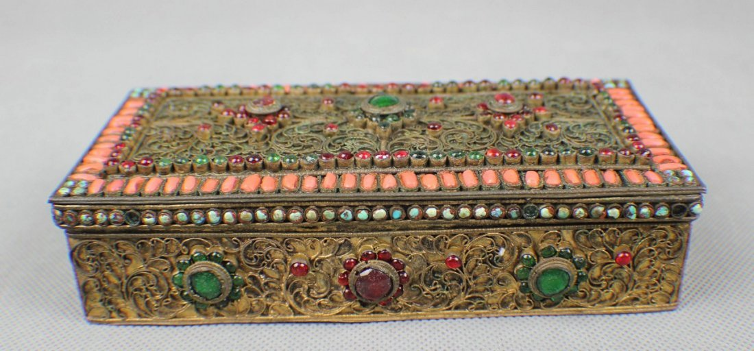 A Copper-box Decorated with Coral and Turquoise - 3