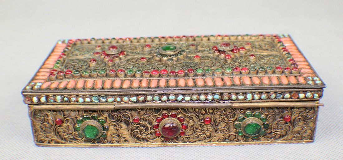 A Copper-box Decorated with Coral and Turquoise - 4