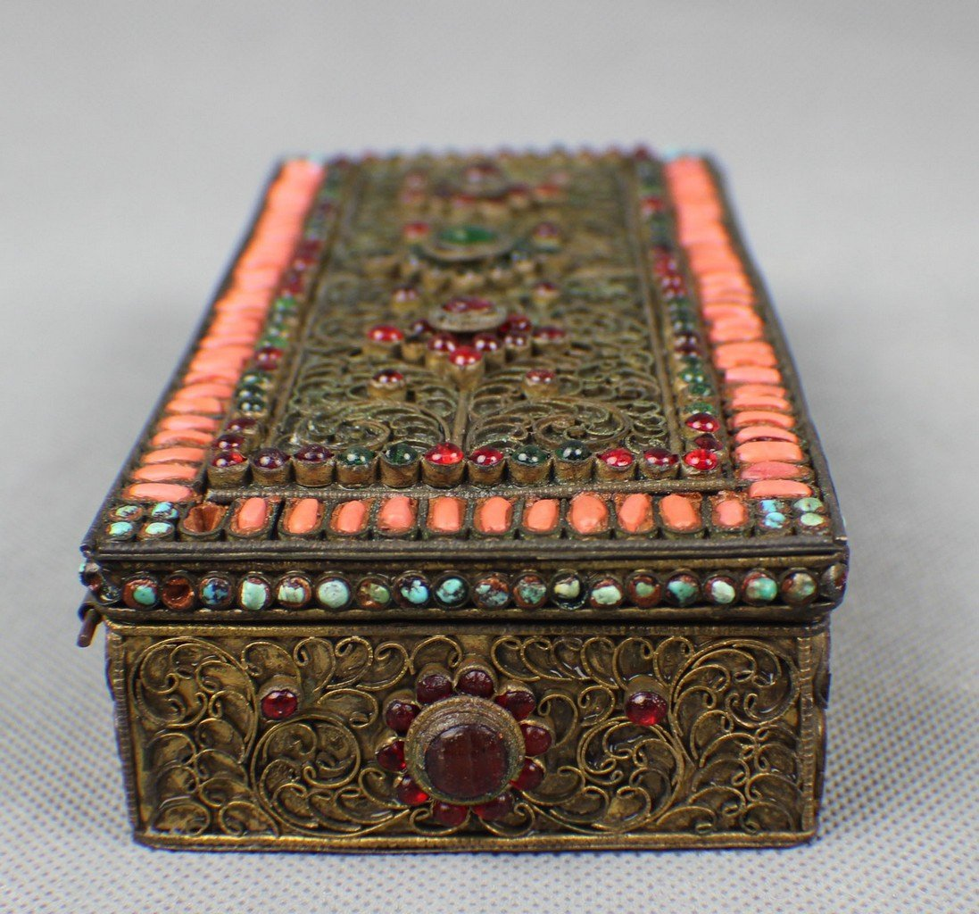 A Copper-box Decorated with Coral and Turquoise - 5