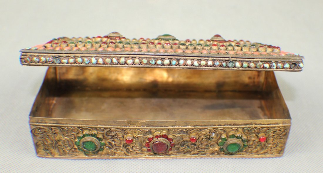 A Copper-box Decorated with Coral and Turquoise - 6