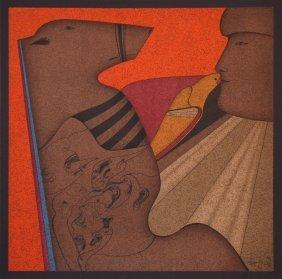 Chemiakin M. (b.1943) Lithograph Kissing Dove