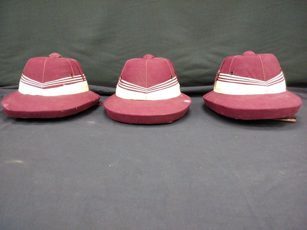 3 Maroon Polo Horse Helmets
