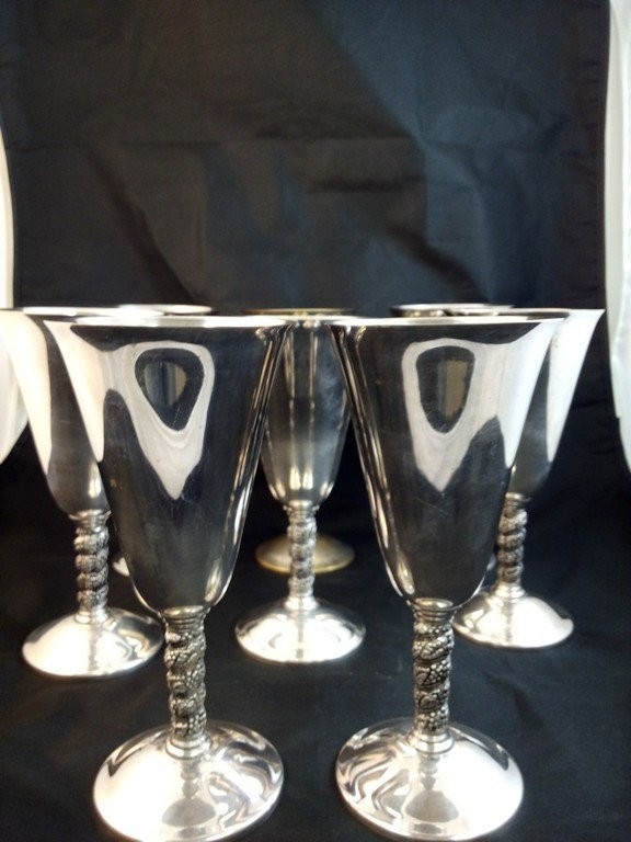 8 Roma S.L Silver Plated Wine Goblets