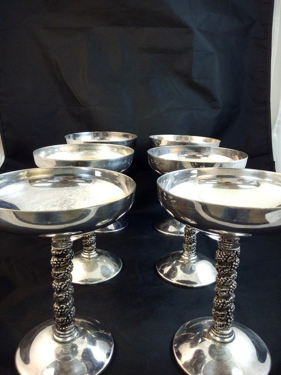 6 Roma S.L silver plated champagne glasses