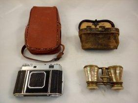 Vintage Kodak Camera, And Lefils Paris Opera Glasses