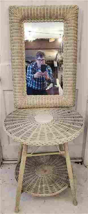 Antique Wicker Table & Mirror