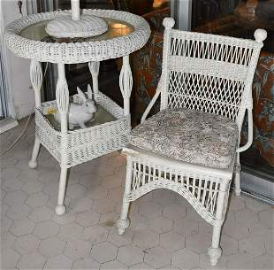 Antique Wicker Circular Table And Chair