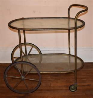 Mid Century Modern Brass And Glass Bar Cart