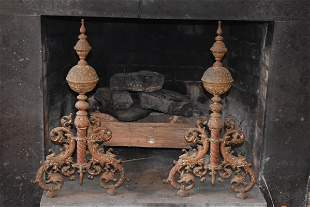 Pair Of Large French Style Brass Andirons