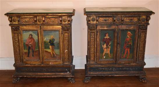 Exceptional Pair of Antique Venetian Cabinets