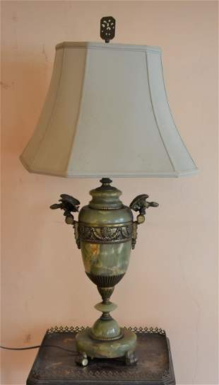 Antique French Onyx Lamp With Bronze Mounts