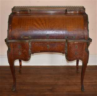French Louis XVI Satinwood Cylinder Roll Desk