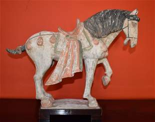 Two Chinese Earthenware Tang Horses