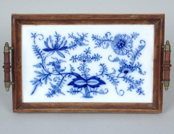 4: 19th C. Blue Onion Pattern Serving Tray