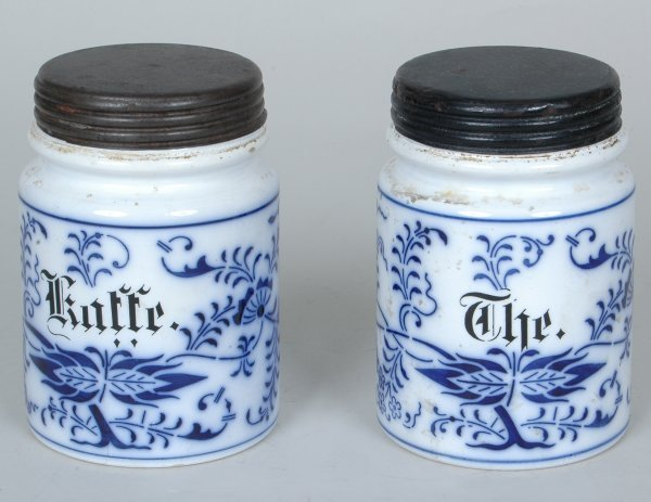 7: Pr. Of  19th C. Blue Onion  Tea  & Coffee Canisters