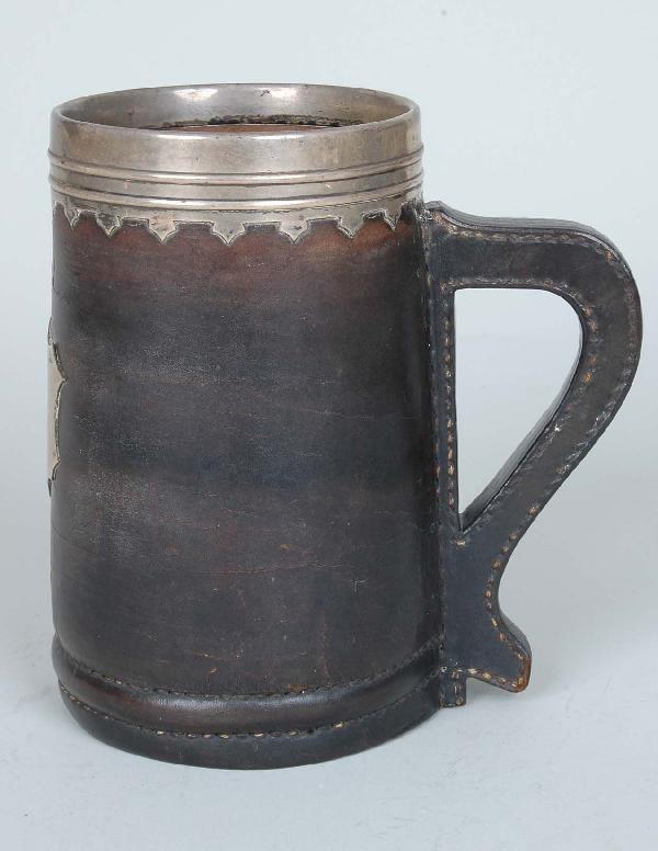 12: Gorham Arts & Crafts Copper Leather & Silver Mug