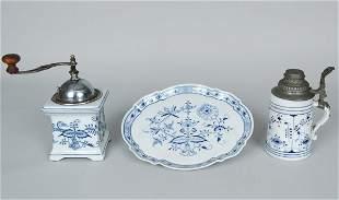 Meissen Blue Onion Platter, Coffee Grinder, & Mug