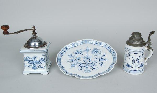 14: Meissen Blue Onion Platter, Coffee Grinder, & Mug