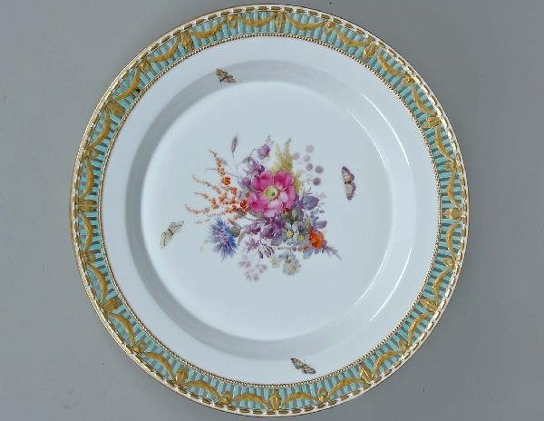 15: Fine 19th C. KPM Reticulated Floral Charger