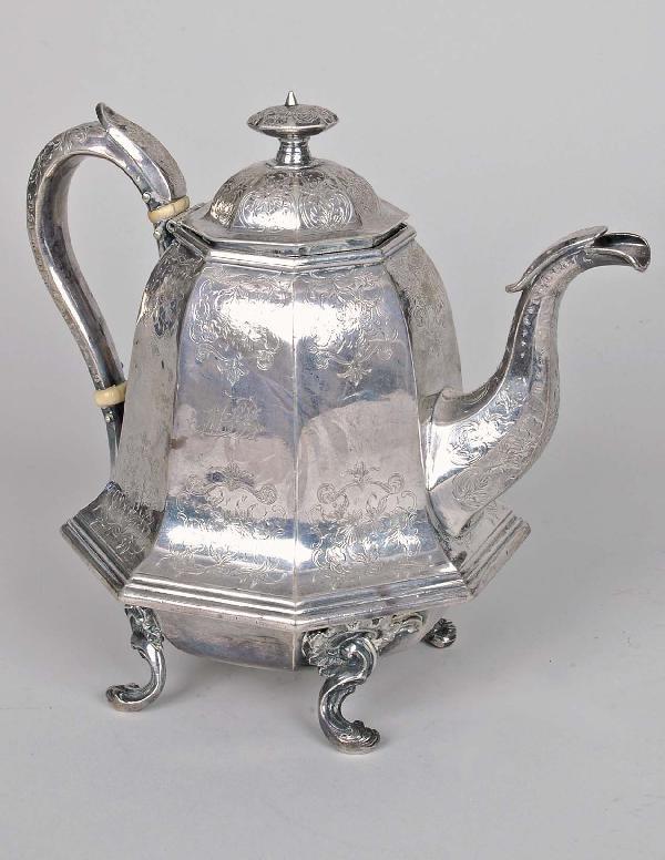 17: J. & I. Cox New York Coin Silver Teapot