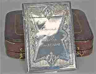 19th C. American Whiting Sterling Card Case C. 1870