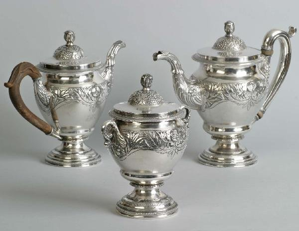 Coin 3 Pc. Tea & Coffee Set, Curry & Preston, 116.5 oz.