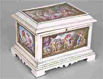 160: Imp. 19th C.Viennese Enamel Ivory Mtd. Jewelry Box