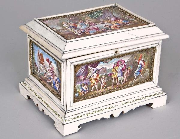 160: Imp. 19th C.Viennese Enamel Ivory Mtd. Jewelry Box