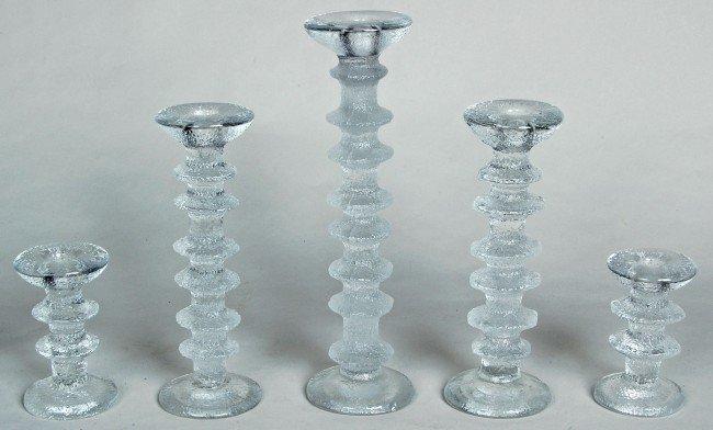 3: EERO SAARINEN, (1910-1961) 5 GRADUATED MOLDED GLASS