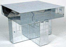 PAUL EVANS CHROME CENTER TABLE, GEOMETRIC CUBE PATTE