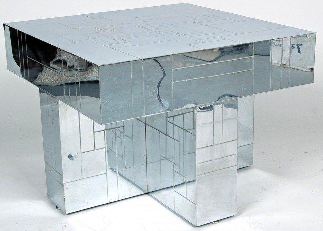 5: PAUL EVANS CHROME CENTER TABLE, GEOMETRIC CUBE PATTE
