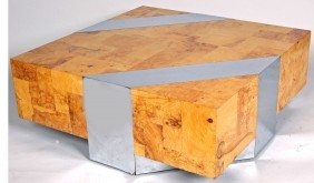 7: PAUL EVANS BURL OLIVEWOOD AND CHROME COFFEE TABLE, o