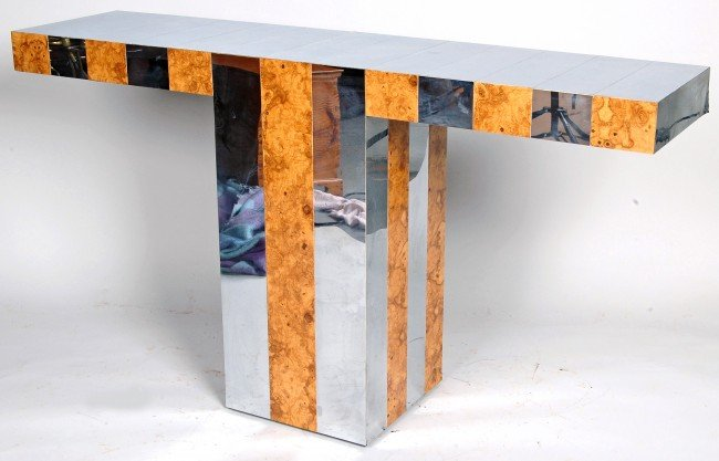 10: PAUL EVANS BURL OLIVEWOOD AND CHROME PIER TABLE  MI