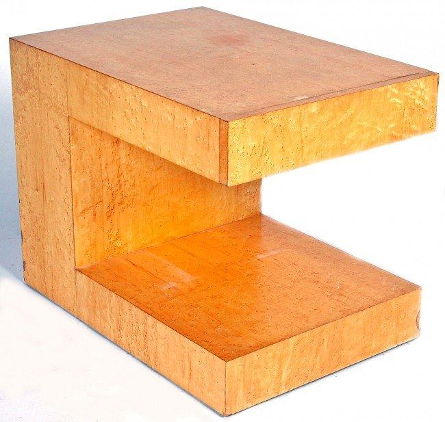 12: PAUL EVANS BIRD'S EYE MAPLE END TABLE, the rectangu
