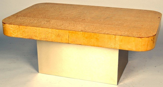 13: PAUL EVANS BIRD'S EYE MAPLE AND BRUSHED STEEL COFFE