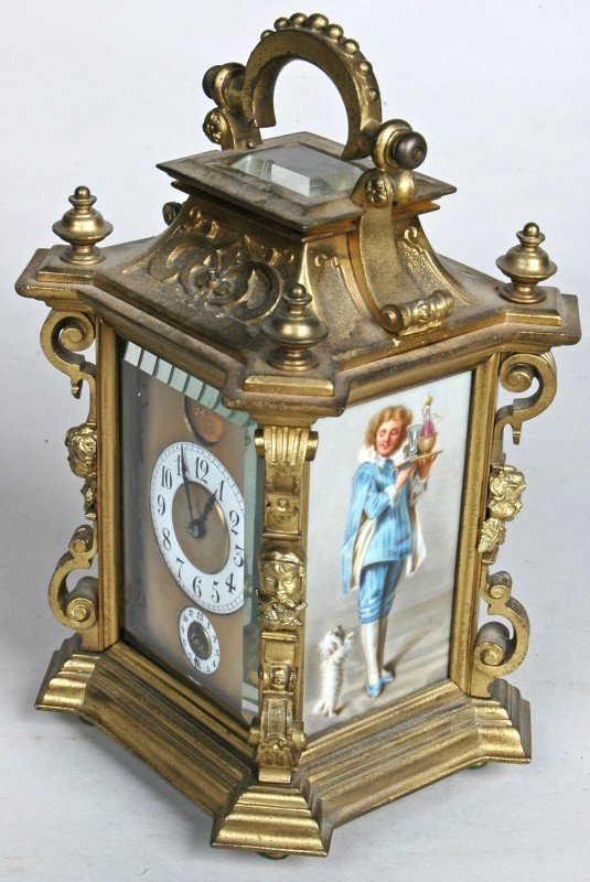46: EXCEPTIONAL FRENCH PORCELAIN MTD. CARRIAGE CLOCK, t
