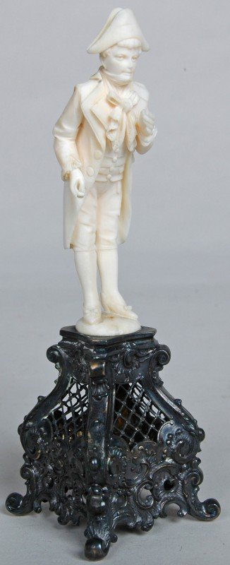 46A: CONTINENTAL CARVED IVORY FIGURE ON FANCY ROCOCO ST