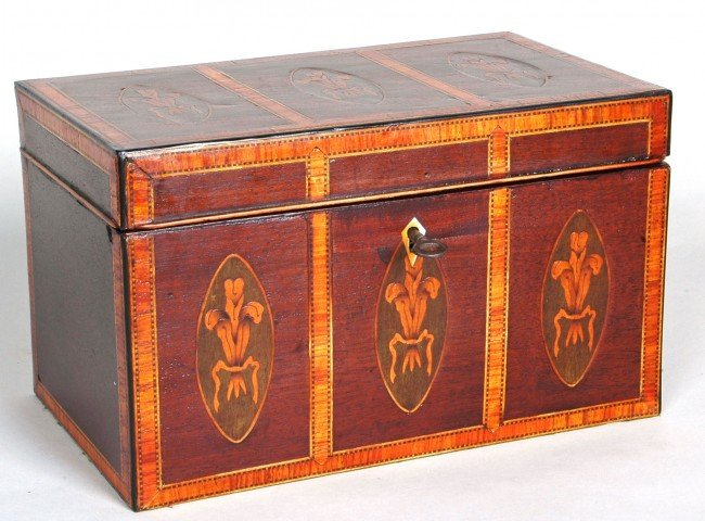 49: FEDERAL MAHOGANY SATINWOOD TEA CADDY with six oval