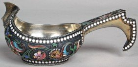 53: 19TH C. RUSSIAN SILVER ENAMELED KVOSH,  with hallma