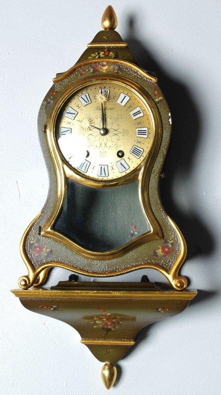 54: SWISS POLYCHROME & GILT BRACKET CLOCK, BOUCHERER, w