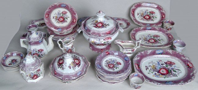 56: LARGE IRONSTONE EXCELSIOR PATTERN MULBERRY DINNER S