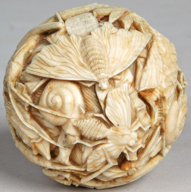 176: EXCEPTIONAL MEIJI IVORY BALL WITH MYRIAD OF INSECT