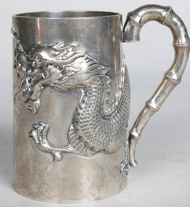 177: CHINESE EXPORT SILVER CANN, bamboo strap work hand
