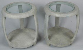 PAIR OF MAITLAND & SMITH CHAGRIN END TABLES