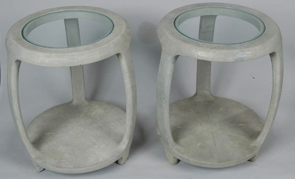 18: PAIR OF MAITLAND & SMITH CHAGRIN END TABLES