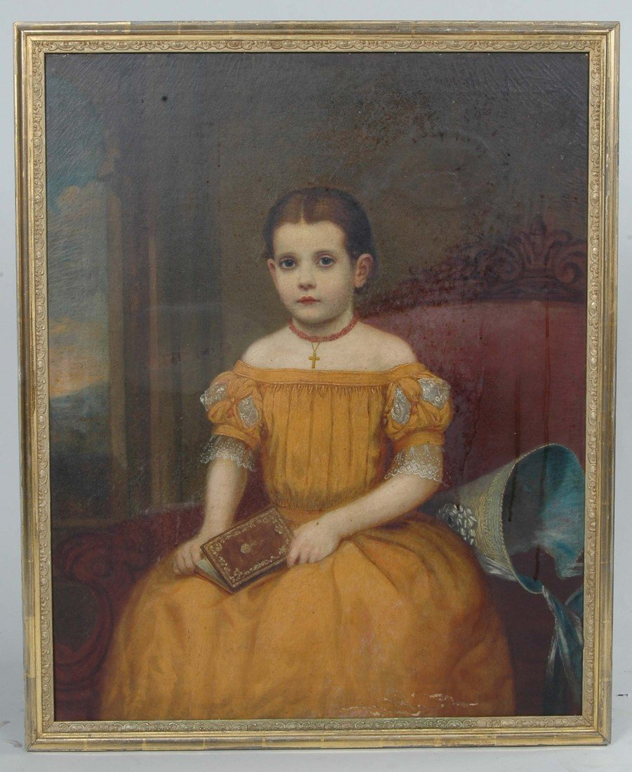 2:AM. SCHOOL, O/C, PORTRAIT OF YOUNG GIRL, C. 1860,