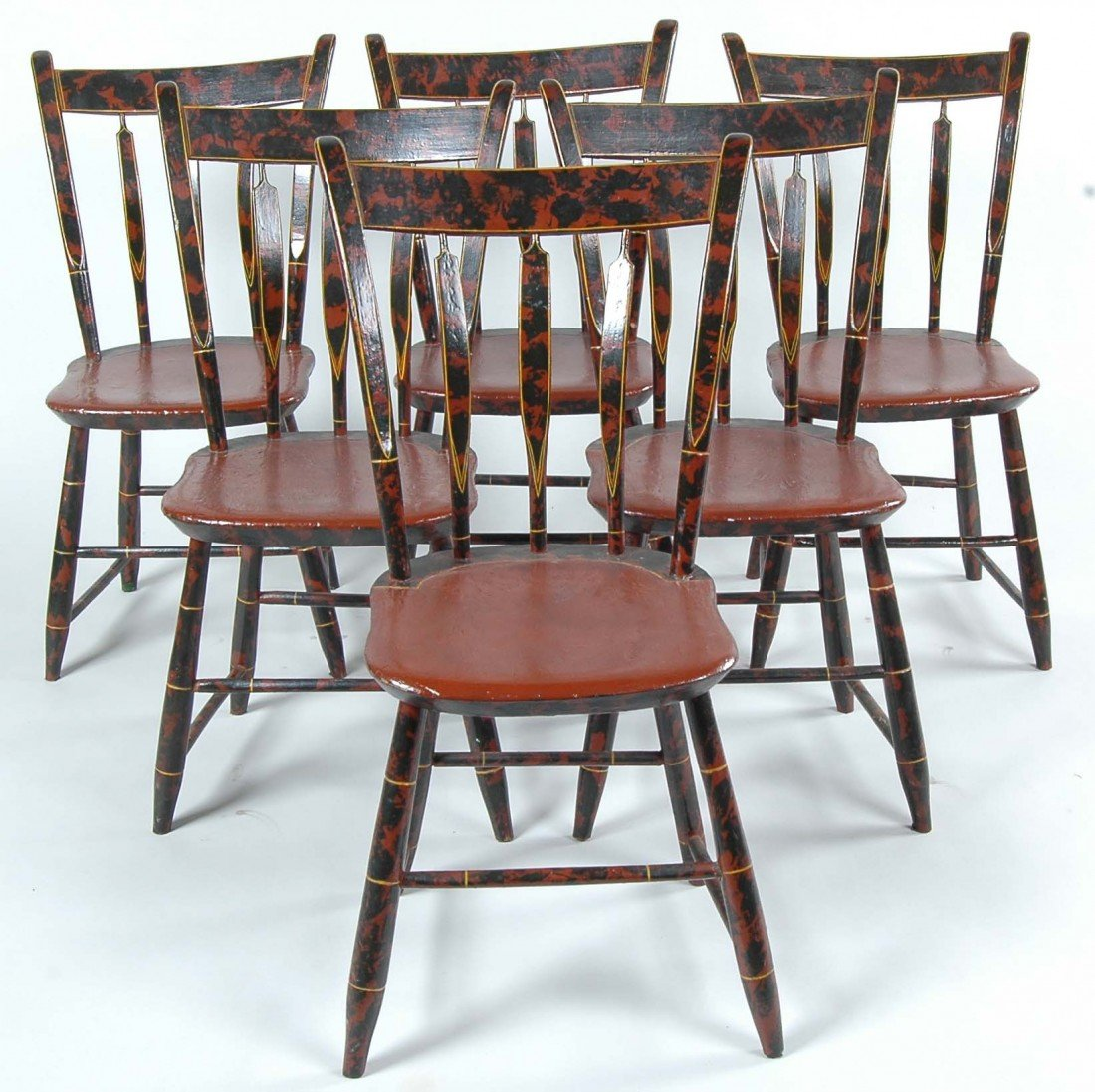 3:SET OF 6 NEW ENGLAND THUMBACK WINDSORS CHAIRS