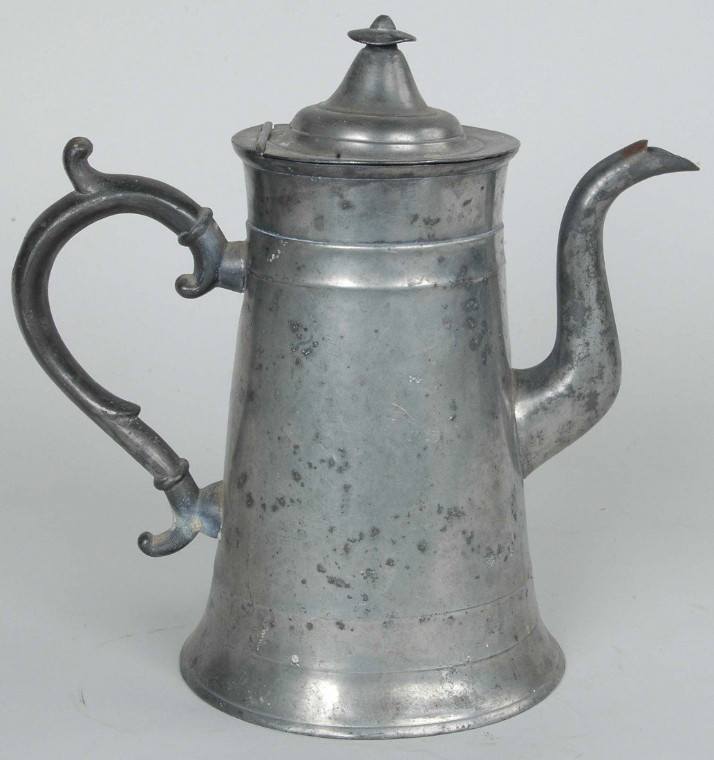 6: EARLY 19TH C. AMERICAN PEWTER COFFEE POT  HT. 10""