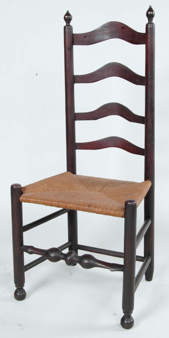 7: FINE 18TH C. DELAWARE VALLEY CHAIR, OLD SURFACE,